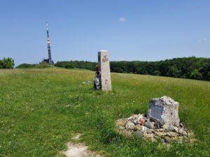 Velká Javořina (970), the highest peak of White Carpathians Memorial of Czech ecologist Josef Vavroušek (R), monument of Czech & Slovak brotherhood (C), telecommunication tower (L)